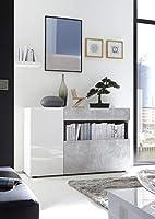 Anta in Bianco Laccato Lucido Cassetto e ribalta in Cemento Ripianop interno colore Bianco Made in Italy Dimensioni:L.130 x P.41 x H.82