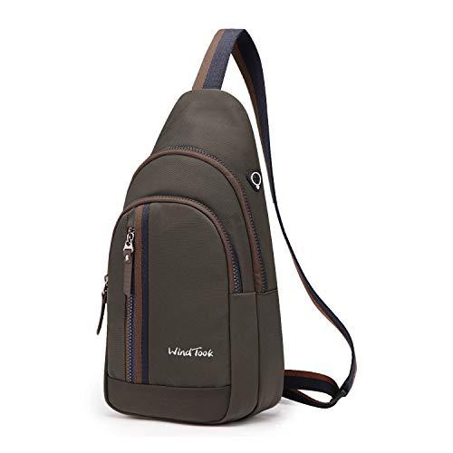Wind Took Schultertasche Brusttasche Crossover Taschen Messenger Bag Sling Rucksack Umhängetasche Sporttasche Freizeit Daypack für Herren Damen, Kaffee