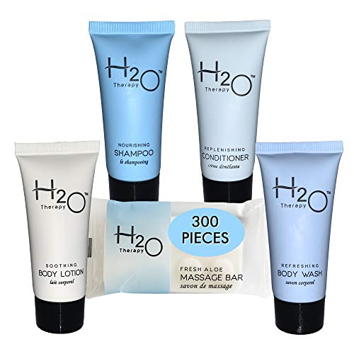 Hotel Size Toiletries Set | H2O 1-Shoppe All-In-Kit Amenities For Hotels, Airbnb & Rentals | .85 oz Hotel Shampoo & Conditioner, Body Wash, Body Lotion & 1 oz Bar Soap | 300 Piece Travel Kit