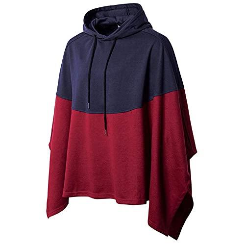 SKYEI Hombre Simple Colorblock Hoodie Wizard's Cloak-Navy_m_Light Gray_2XL