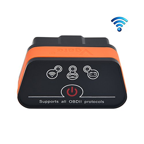 vgate OBD-21 iCar 2 WiFi WLAN EOBD OBDII OBD 2 KFZ Auto Interface Diagnose Android iOS Windows, Schwarz - Orange