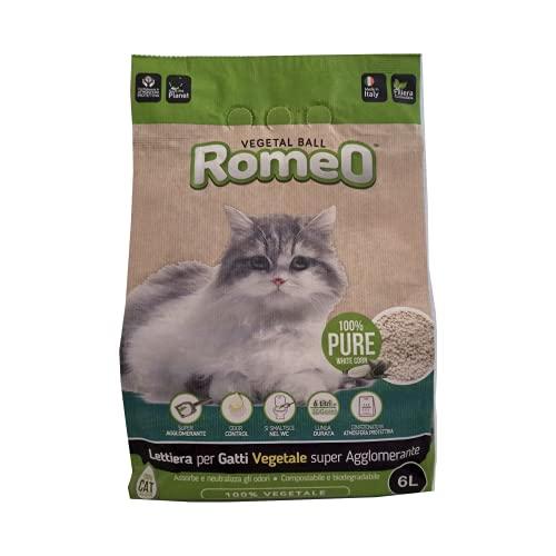 ROMEO Vegetal Ball Classic, Lettiera per Gatti, Sabbia per Gatto Agglomerante, 100% Vegetale, Assorbe, Neutralizza Odori e Liquidi, Smaltibile nel WC o nell'Organico, 3 Pack da 6 L