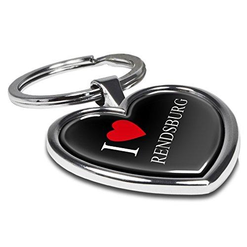 printplanet Schlüsselanhänger mit Stadtnamen Rendsburg - Motiv I Love - Herz-Schlüsselanhänger, Stadtschlüsselanhänger, personalisierter Anhänger, Herz-Anhänger, Chrom