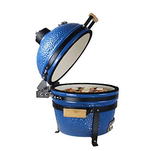 RJMOLU 16 Zoll Keramik BBQ Grill, Pizza Backen Huhn Gegrilltes Geröstetes Ofen Rindfleisch Steak Kochgitter, Rauchergrill für Picknick,Blau