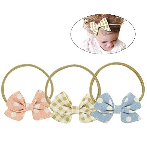 3 STKS Verschillende Kleur Mooie Strik Baby Meisje Haarband Hoofd Wikkel Hoofdband Elastische Haarband voor Kinderen Bloem afdrukken Hoofdband Twisted Knotted Haarband