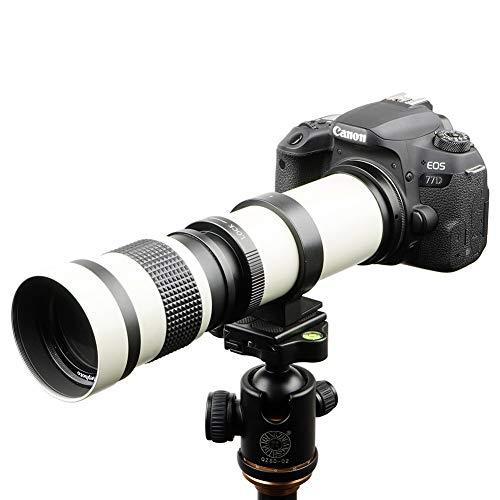 Lightdow 420-800mm f/8.3 Manual Zoom Super Telephoto Lens + T Mount Ring for Canon EOS 80D 90D Rebel T3 T3i T4i T5 T5i T6 T7 T6i T7i SL1 SL2 60D 70D 77D 5D III/5D IV 6D 7D/7D II Camera (White Version)
