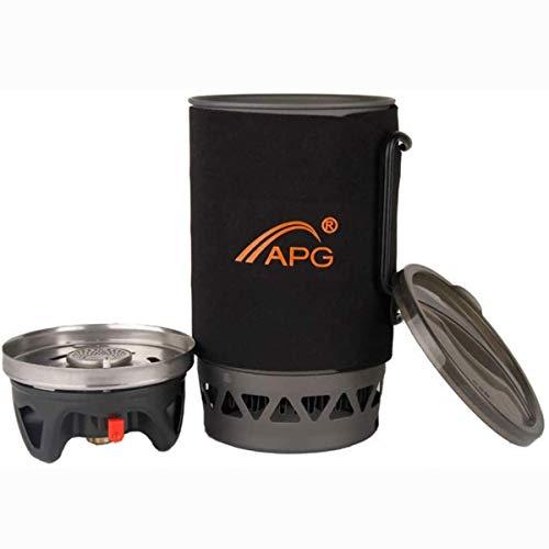 Ytrew Juego de utensilios de cocina para camping con quemador de estufa y olla portátil de tamaño compacto de cocina al aire libre, equipo de horno para senderismo, picnic (1400 ml)