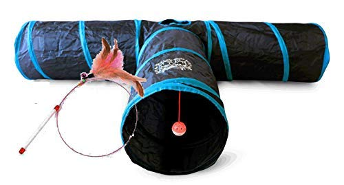 Feline Ruff Premium 3 Way Cat Tunnel. Extra Large 12 Inch Diameter and Extra Long. A Big Collapsible...