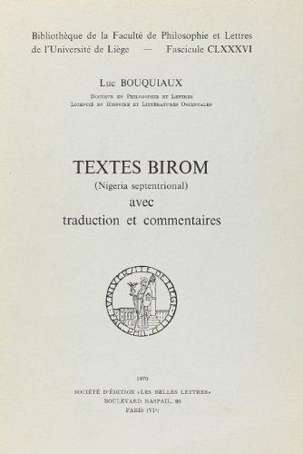 Textes Birom (Nigeria Septentrional) avec Traduction et Commentaires