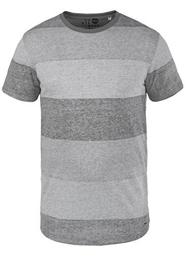 Solid Teine Camiseta De Rayas Básica De Manga Corta para Hombre con Cuello Redondo