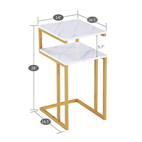 Nachtkastje LKU (42 x 35,5 x 71) cm C-Type bijzettafel dubbellaags gouden marmeren sticker, 28446127