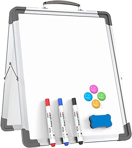 Pizarra pequeña de borrado en la pizarra Portátil plegable plegable de dos caras de escritorio personal de escritorio personal para la escuela de oficina (Negro) 12'x 16' (Color : Silver)