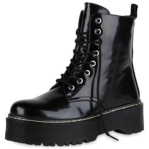 SCARPE VITA Damen Plateau Stiefeletten Worker Boots Profilsohle Stiefel 174764 Schwarz Lack 40