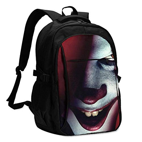 XCNGG Mochila USB con múltiples bolsillos, mochila informal, mochila escolar IT Pennywise 01 Laptop Backpack Anti Theft Water Resistant Durable Computer Bag USB Charging Port Fits 15.6 Inch Laptop and