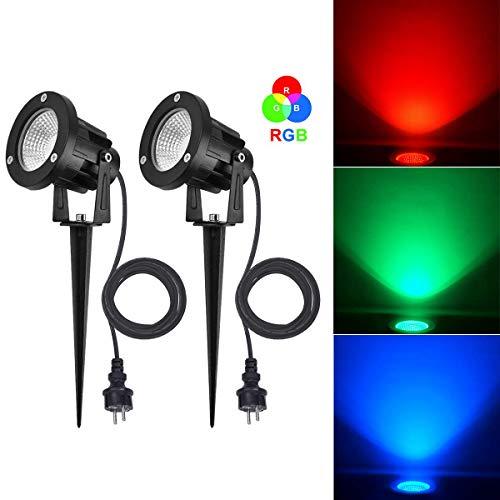 SanGlory 2er Set 7W LED Strahler RGB Licht mit Erdspieß, 2m Kabel mit Stecker, Led Garten Beleuchtung, Gartenleuchte, Gartenstrahler, Rasenstrahler, IP65 Wasserdicht für Outdoor Hof Rasen