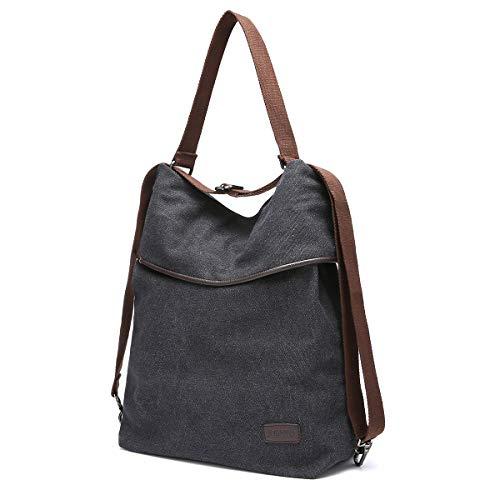 JOSEKO Canvas Tasche Segeltuch Schultertasche Damen Rucksack Handtasche Vintage Damen Umhängentasche für Reise Outdoor Schule Einkauf Alltag Büro (Schwarz)