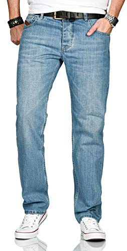 A. Salvarini Designer Herren Jeans Hose Basic Stretch Jeanshose Comfort Fit [AS-200-Hellblau-W44-L32]