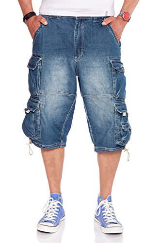 Jet Lag Herren Denim Cargo Shorts Modell 007 in Light Navy oder Denim Bleached, Größe:5XL, Farbe:Light Navy