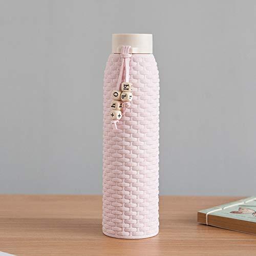 ZXCVWY 310Ml Doppelglas Wasserflasche Anti-Verbrühungs-Vakuum-Rattan-Flasche Mit Seil Für Mädchen Tote Cute Water Bottle Round