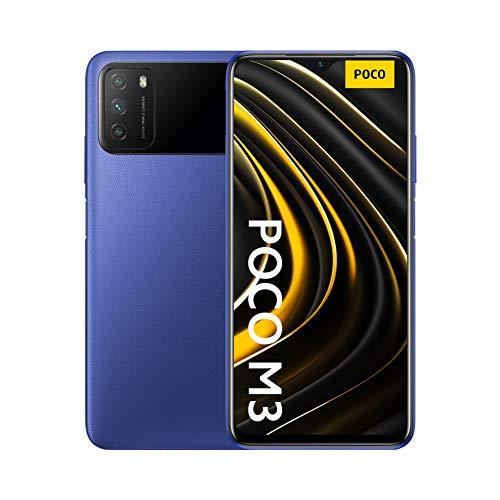Xiaomi Poco M3 - Smartphone 4+128GB, 6.53' FHD+ Dot Drop Display, Snapdragon 662, 48MP AI Tripla Camera, 6000 mAh, Cool Blue, 16.23 x 7.73 x 0.96 cm