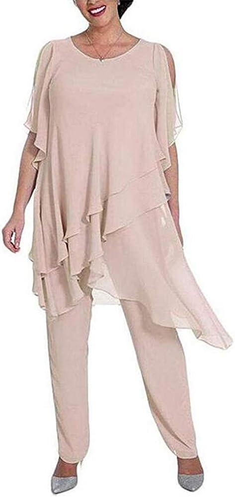 Women's 2 Pieces Chiffon Outfit Pant Suits Mother of The Bride Pant Suits Evening Gowns Plus Size