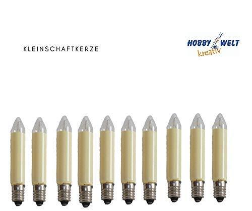 10 Stück LED Kleinschaftkerzen 8-55V, E 10- er Fassung, für Schwibbogen, Pyramide u.s.w.