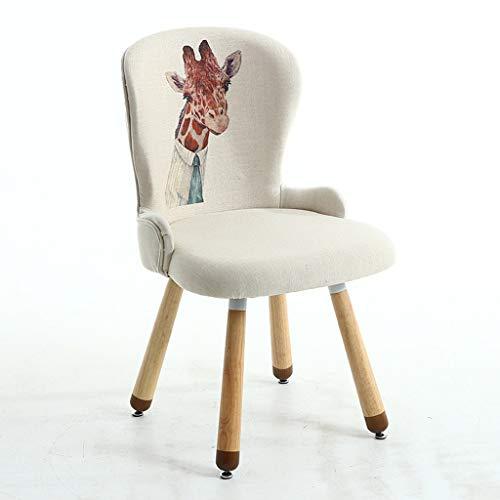 CJH Effen Houten Kruk Nordic Eenvoudige Romantische Stijl Eettafel Stoel Comfortabele Dier Giraffe afdrukken Doek Art Rugleuning Stoel