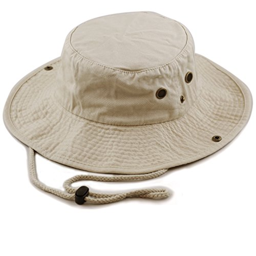 The Hat Depot 300N1510 Wide Brim Foldable Double-Sided Outdoor Boonie Bucket Hat (S/M, Khaki)