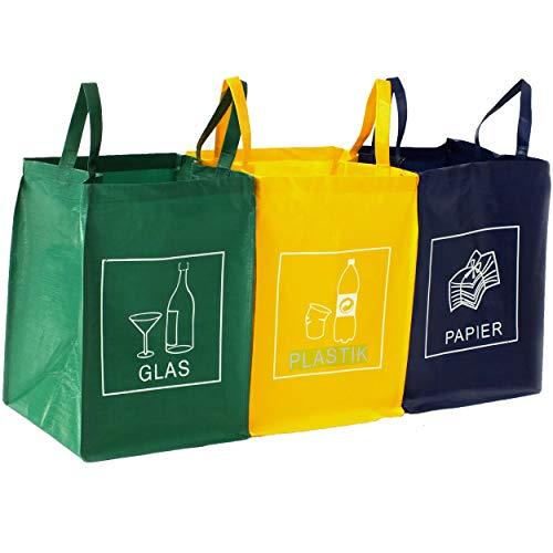 DWD-Company 3er Set Mülltrennsystem Abfalltrenner für Papier, Plastik und Glas mit praktischem Transportgriff