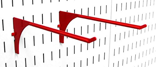 Wall Control Pegboard 9in Reach Extended Slotted Hook Pair - Slotted Metal Pegboard Hooks for Wall Control Pegboard and Slotted Tool Board � Red