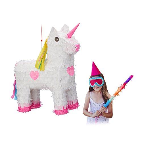 Relaxdays 10022562 Pignatta Unicorno da Riempire, per Feste di Compleanno Bambini, HxLxP: 47 x 43 x 13 cm, Bianco-Rosa