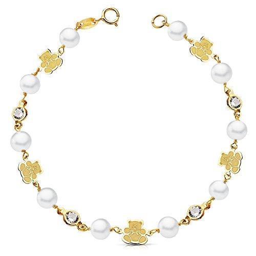 Iyé Biyé Jewels - Braccialetto da bambina, in oro giallo 18k, con perle, orsetti e zirconi, ideale come regalo per la Prima Comunione, 17,5cm