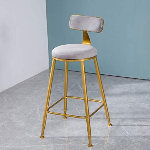AFDK Moderna Taburete alto sillas de metal - Cocina Desayuno Silla de comedor -Fashion Hierro forjado Barstools Contador heces muebles para la sala, gris,65cm