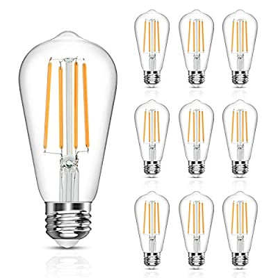 LANGREE Antique Vintage LED Light Bulbs, ST58 Edison Led Bulb, Equivalent 60W, Soft White 2700k, Non-Dimmable, E26 Medium Base, LED Filament Bulbs, Pack of 10