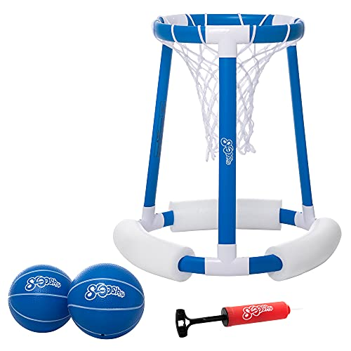 Floating Pool Basketball Hoop Game for Swimming Pool   Includes Hoop, 2 Balls and Pump,Inflatable Basketball Hoop Water Basketball Game Pool Toys for Kids and Adults,Blue