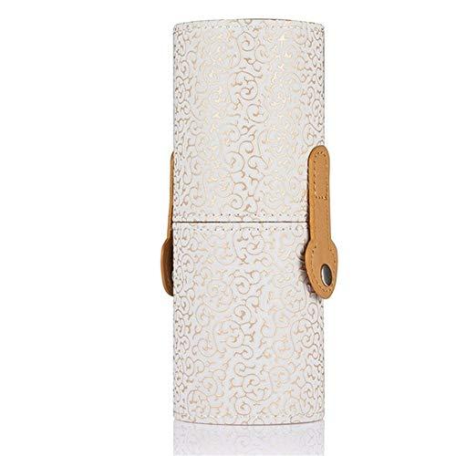 ZRDY 5 Couleurs Portable Maquillage Brosse De Stockage for Les Femmes Vide Rond Porte-Stylo Sculpture Motif Cosmétique Conteneur Make Up Tool (Color : White)