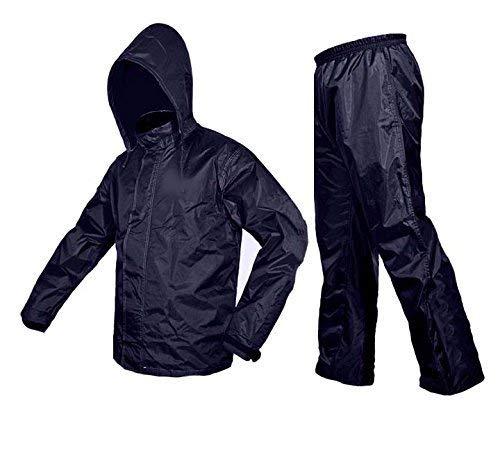 Vision VIV Rain Coat for Men and Women's 100% Water Proof/Packable Zipper Raincoat with Hood & Pocket, Blue Color (Large)
