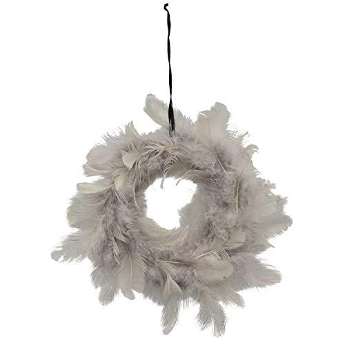 Exner Feder-Kranz grau Durchmesser Federkranz echte Federn Tischdeko Kränze Osterkranz Türkranz Nest Ø 15 cm Natur…
