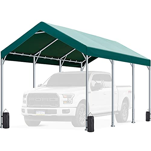 FINFREE 10 x 20 ft Heavy Duty Carport Car Canopy, Garage Shelter for Outdoor Party, Birthday, Garden, Boat, Adjustable Height from 9.5 ft to 11 ft Green