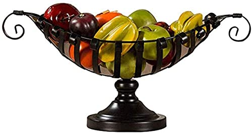 Cesta para tazón de frutas y verduras, plato de frutas para aperitivos, tazón de frutas creativo Cesta de hierro forjado, plato de frutas chinas para frutas, soporte para baloncesto europeo (color: