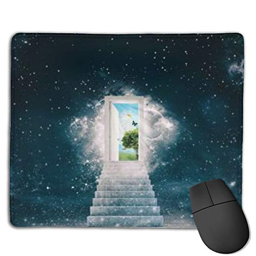 New Green Worlds Behind The Door Customized Designs Non-Slip Rubber Base Gaming Mouse Pads for Mac,22cm×18cm, Pc, Computers. Ideal for Working Or Game