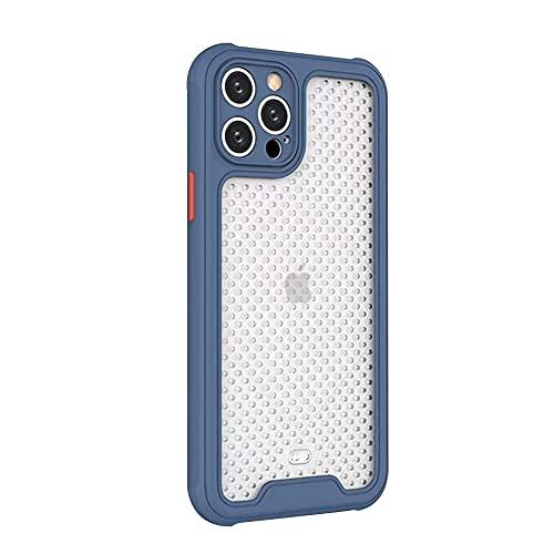 Rdyi6ba8 Funda Compatible con iPhone 12 Pro MAX, Translúcida Mate PC y Silicona TPU Bordes Resistente a Impactos [Anti-Sobrecalentamiento] Respirable Case para iPhone 12 Pro MAX, Azul
