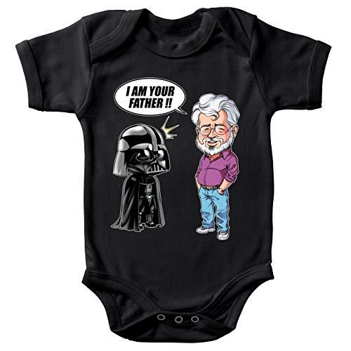 Body bébé Noir Star Wars parodique Dark Vador et George Lucas - I am Your Father : Un père Pas si Inconnu Que ça. : (Version Originale) (Parodie Star Wars)