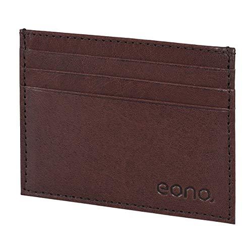 Amazon Brand - Eono Kreditkartenetui mit Scheinfach aus Leder für Damen und Herren – Design mit RFID Ausleseschutz-Funktion (Braun VT)