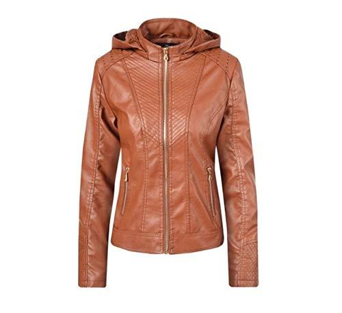 LXFWT Herbstmode Lederjacke Frauen dicken Mantel Leder schwarz Stehkragen Reißverschluss Kurze Jacke Reiten Damenjacke M Camel