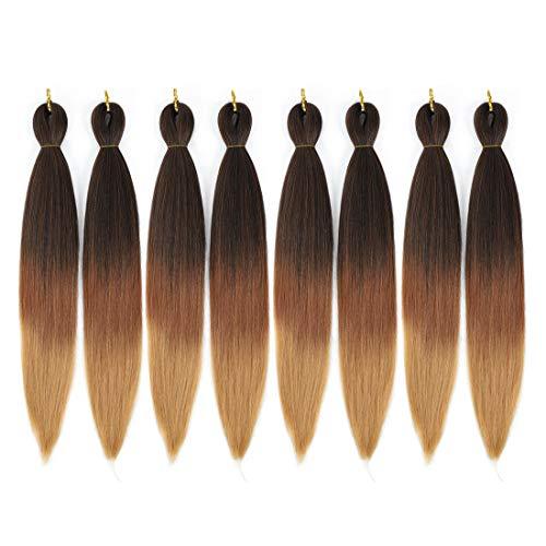 Ombre Pre-stretched Braiding Hair, Top Silky Braid Hair Extensions, Itch Free Crochet Twist Hair Braids, Yaki Texture Original Braiding Hair Pre Stretched, 0.21 pound/bundle (24''-8 bundles, 1b/30/27)