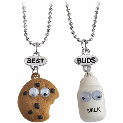 2 pcs Best Friends Necklace,BFF Girls Necklace,Friendship Necklace Set of 2, Milk and Biscuit Friendship Necklace Set for Teen Girls Boys, 2 pcs/Pack