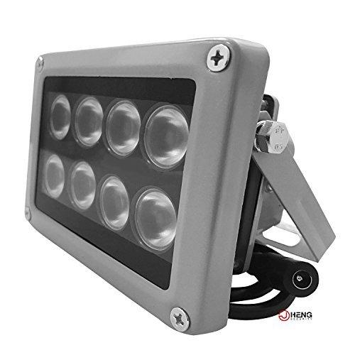 JC Infrared Illuminator, 850nm 8 LEDs 90 Degree Wide Angle IR Illuminator for Night Vision,Waterproof LED Infrared Light-LITE Version