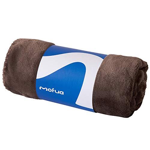mofua (モフア) ひざ掛け 毛布 70×100cm ブラウン あったか 冬用 ブランケット モフモフ プレミアムマイクロファイバー 静電気防止 洗える エコテックス認証 50000606