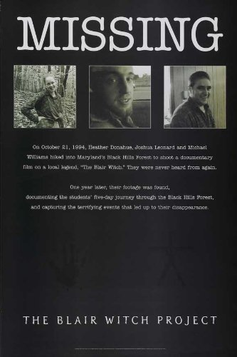 Pop Culture Graphics The Blair Witch Project Poster D 27x40 Michael Williams Heather Donahue Joshua Leonard